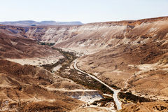 Negev desert landscape with road Royalty Free Stock Photo