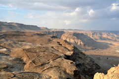 Negev desert - View from Masada. Negev desert view from Masada. In the middle-left are Roman fortification ruins Stock Photography
