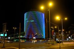 Negev shopping center tower in the night Stock Images