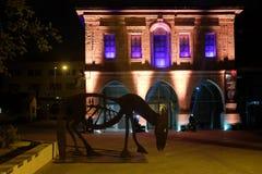 Negew muzeum sztuki z nocy iluminacją Fotografia Royalty Free