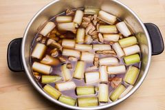 Negima-nabe hot pot. Mixed cut welsh onion and cut tuna hot pot called Negima-nabeNegima hot pot Stock Photography