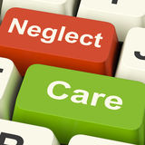 Neglect Care Keys Shows Neglecting Or Caring Royalty Free Stock Photos