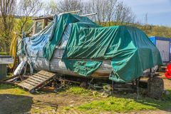Neglected boat in Yorkshire boatyard Royalty Free Stock Image