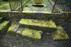 Neglected grave - Potsdam, Germany. Neglected grave with moss overgrown steps - Potsdam, Germany Stock Photography