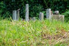 Gravestones at the small Remuh / Remah Cemetery on Szeroka Street in Kazimierz, the historic Jewish quarter of Krakow, Poland. Neglected gravestones in long stock photos
