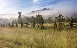 Split Rail Fence Fog Field Blue Ridge Parkway NC Royalty Free Stock Photos