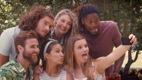 Negli amici felici di formato di alta qualità che prendono un selfie video d archivio
