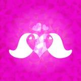 Negli uccelli delle coppie di amore sul fondo abbagliato rosa del triangolo Fotografie Stock Libere da Diritti