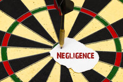 Negligence. Darts with dart which was pinned a sheet of paper fo. Negligence. Darts with dart arrow which was pinned a sheet of paper for labels Royalty Free Stock Photos