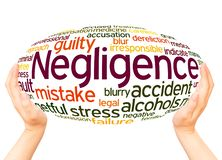 Negligence word cloud hand sphere concept. On white background stock image
