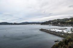 Negligenciando o porto de Zarautz e de Getaria Imagem de Stock Royalty Free