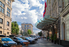Neglinnaya street in the center of Moscow. Russia. View of the Neglinnaya street in front of the hotel Peter the 1st and the Central Bank of Russia. Moscow Royalty Free Stock Photo