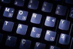 Negociações do dinheiro do teclado de computador Fotos de Stock Royalty Free