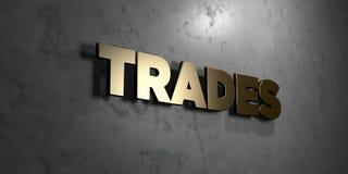 Negocia - muestra del oro montada en la pared de mármol brillante - el ejemplo común libre rendido 3D de los derechos stock de ilustración