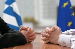 Negociación de Grecia y de la unión europea Estadista o políticos Imágenes de archivo libres de regalías