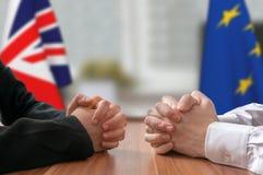 Negociación de Gran Bretaña y de la unión europea Brexit Estadista o políticos Fotos de archivo