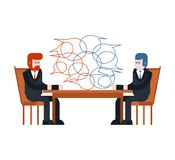 Negociaciones del asunto Dos hombres de negocios están sentando la tabla entre libre illustration