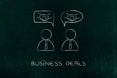 Negociaciones y tratos: hombres de negocios con el apretón de manos en bubb cómico Fotos de archivo libres de regalías