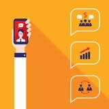 Negocio acertado de la comunicación social de la red y diseño plano moderno del concepto del comercio electrónico Fotografía de archivo