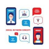 Negocio acertado de la comunicación social de la red y diseño plano moderno del concepto del comercio electrónico Fotografía de archivo libre de regalías