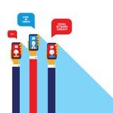 Negocio acertado de la comunicación social de la red y diseño plano moderno del concepto del comercio electrónico Fotos de archivo
