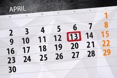 Negocio calendario página 2018 el 13 de abril diario Fotos de archivo