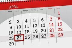Negocio calendario página 2018 el 24 de abril diario Imagen de archivo