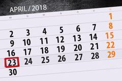 Negocio calendario página 2018 el 23 de abril diario Imágenes de archivo libres de regalías