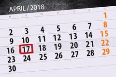 Negocio calendario página 2018 el 17 de abril diario Foto de archivo