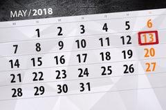 Negocio calendario página 2018 el 13 de mayo diario Imagen de archivo libre de regalías