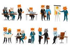 Negocio Cat Cartoon Icons Set Foto de archivo
