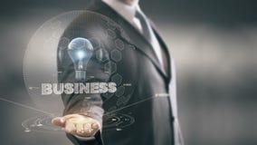 Negocio con concepto del hombre de negocios del holograma del bulbo almacen de video