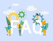 Negocio con frecuencia pedido de las preguntas con el fondo del FAQ de los símbolos de letras ilustración del vector