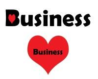 Negocio con un corazón rojo y un corazón más grande con negocio dentro Fotos de archivo libres de regalías