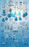 Negocio creativo del diseño como bombilla 3d del lápiz Imágenes de archivo libres de regalías