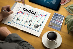 Negocio de dinero financiero de la tecnología de Internet de la inversión de FINTECH Imágenes de archivo libres de regalías