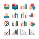 Negocio de la carta del gráfico e iconos financieros fijados. Illustratio del vector Fotografía de archivo libre de regalías