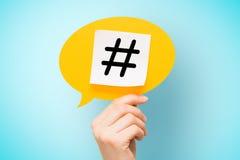 Negocio de la etiqueta de la red viral del web de los posts de Hashtag medios Imágenes de archivo libres de regalías
