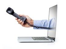 Negocio de la llamada del ordenador del teléfono fotografía de archivo libre de regalías