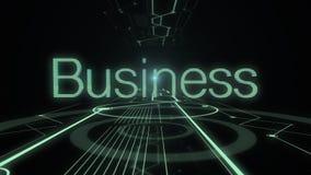 Negocio de la palabra que aparece en el fondo oscuro con las líneas de iluminación de túnel digital ilustración del vector