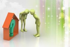 Negocio de las propiedades inmobiliarias con el signo de interrogación Fotografía de archivo libre de regalías