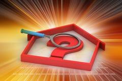 Negocio de las propiedades inmobiliarias con el signo de interrogación Foto de archivo