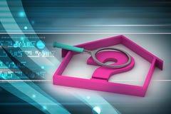 Negocio de las propiedades inmobiliarias con el signo de interrogación Imagen de archivo