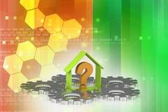Negocio de las propiedades inmobiliarias con el signo de interrogación Imagen de archivo libre de regalías