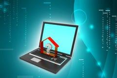 Negocio de las propiedades inmobiliarias con el signo de interrogación en ordenador portátil Imagen de archivo