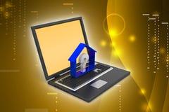 Negocio de las propiedades inmobiliarias con el signo de interrogación en ordenador portátil Imagenes de archivo