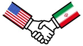 Negocio de los E.E.U.U. IRÁN, acuerdo comercial, apretón de manos, paz, concepto, gráfico stock de ilustración