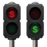 Negocio de los semáforos del dólar Foto de archivo libre de regalías