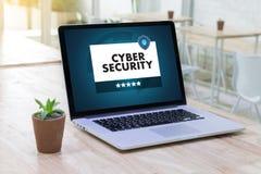 Negocio de seguridad cibernético, tecnología, alarma del antivirus del cortafuego favorable imagen de archivo libre de regalías