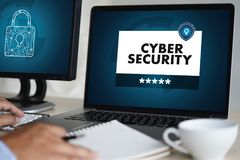 Negocio de SEGURIDAD CIBERNÉTICO, tecnología, alarma del antivirus del cortafuego favorable fotografía de archivo libre de regalías